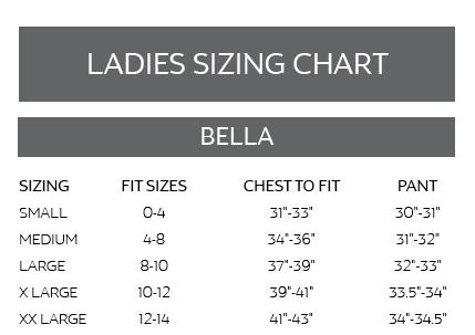 bella sizing chart