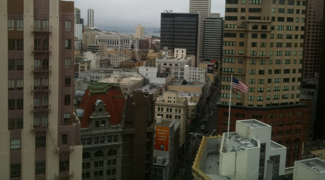 View of downtown SF from a hotel room